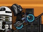 Darth Vader din Razboiul stelelor cu bicicleta