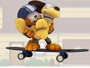 Garfield obstacole cu skateboard