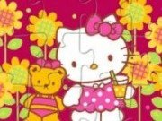 Puzzle cu Hello Kitty si Teddy