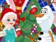 Elsa si Olaf fac strengarii in jurul bradului