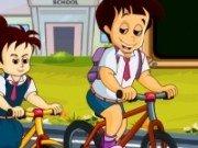 Cursa cu bicicleta la scoala
