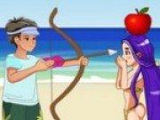 Joc de tras cu arcul in marul de pe cap