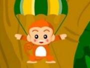 Maimuta colecteaza banane cu parasuta