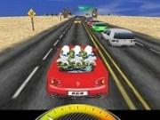 Cursa cu masina rosie pe autostrada